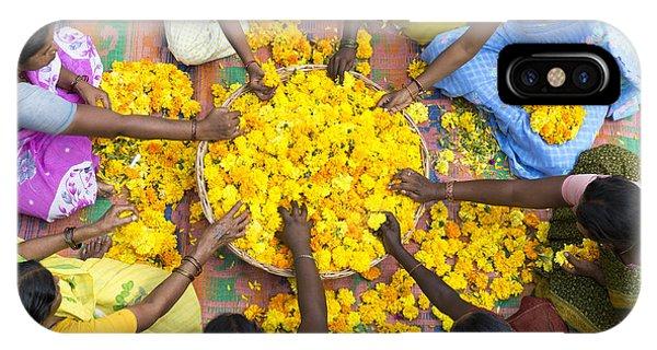 Indian Village iPhone Case - Making Flower Garlands by Tim Gainey