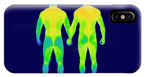 Infrared Radiation iPhone Case - Male Couple Holding Hands by Thierry Berrod, Mona Lisa Production