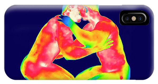 Infrared Radiation iPhone Case - Male Couple Kissing by Thierry Berrod, Mona Lisa Production