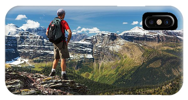Male Hiker Standing On Top Of Mountain IPhone Case