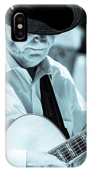 Male In Alpine Hat Playing Guitar IPhone Case