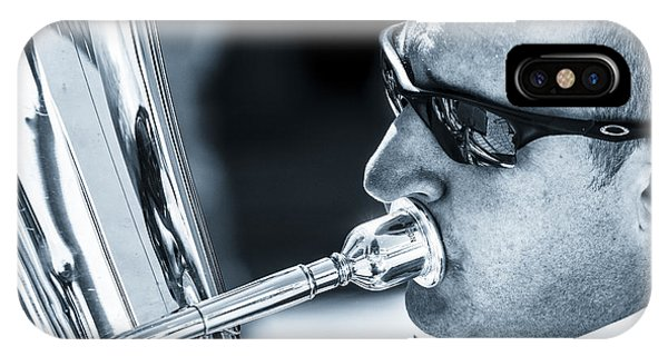 Male In Sunglasses Blowing Mouthpiece Of Tuba IPhone Case