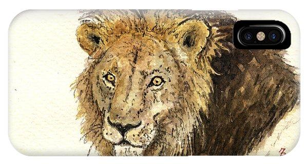 African Lion Art iPhone Case - Male Lion by Juan  Bosco