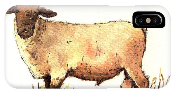 Farm iPhone Case - Male Sheep Black by Juan  Bosco