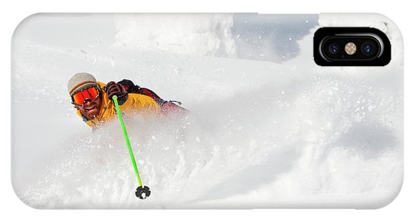 Knit Hat iPhone Case - Male Skier Makes A Deep Powder Turn by Craig Moore