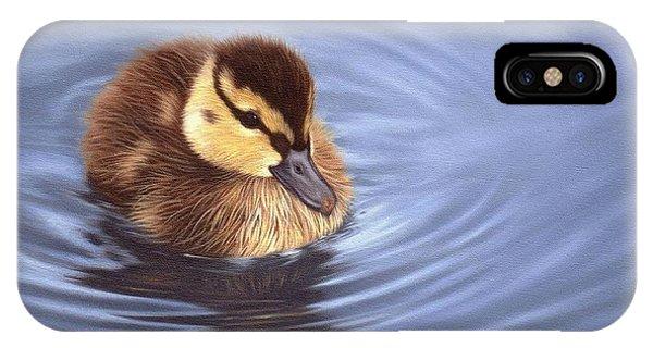 Mallard iPhone Case - Mallard Duckling Painting by Rachel Stribbling