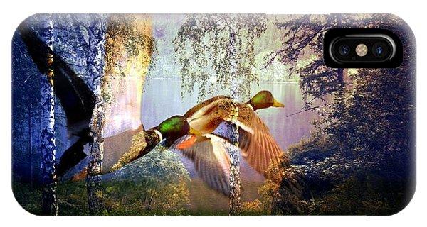 Mallard Ducks Flying To The Lake IPhone Case
