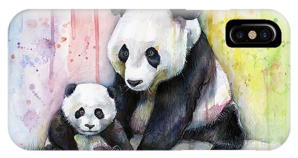 Watercolors iPhone X Case - Panda Watercolor Mom And Baby by Olga Shvartsur