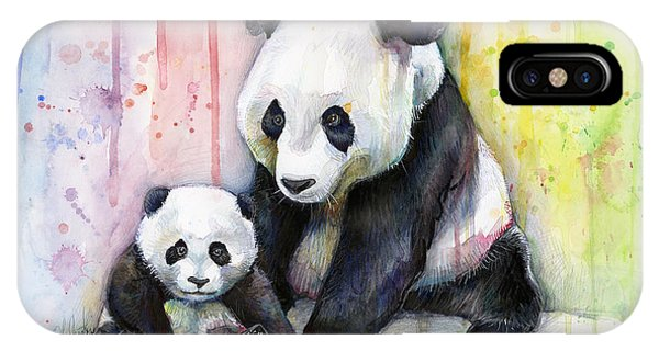 Colorful iPhone Case - Panda Watercolor Mom And Baby by Olga Shvartsur