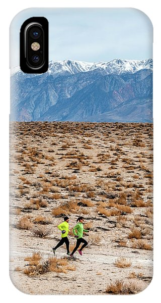 Knit Hat iPhone Case - Man And Woman  Trail Running by Rick Saez