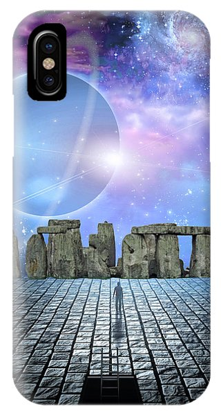 Man Before Stone Structure IPhone Case