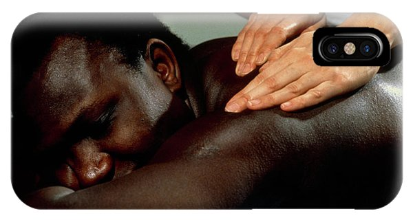 Well Being iPhone Case - Man Being Given An Aromatherapy Massage by Damien Lovegrove/science Photo Library