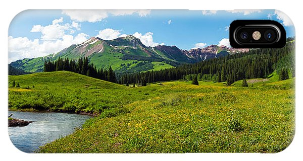 Caravan iPhone Case - Man Camping Along Slate River, Crested by Panoramic Images