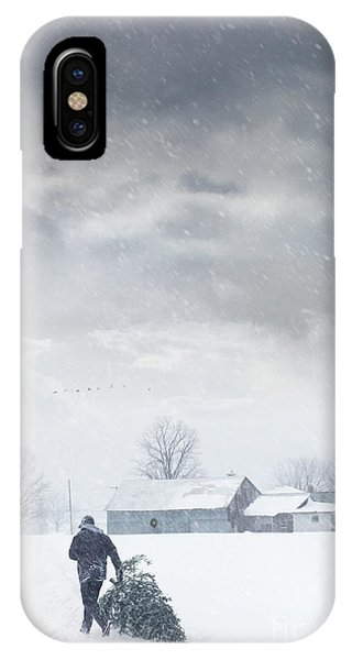 Man Carrying Tree For Christmas IPhone Case
