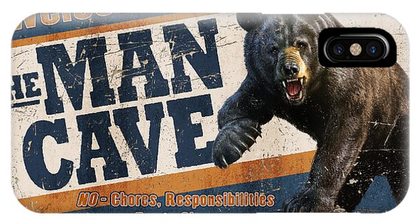 Man Cave iPhone Case - Man Cave Balck Bear by JQ Licensing