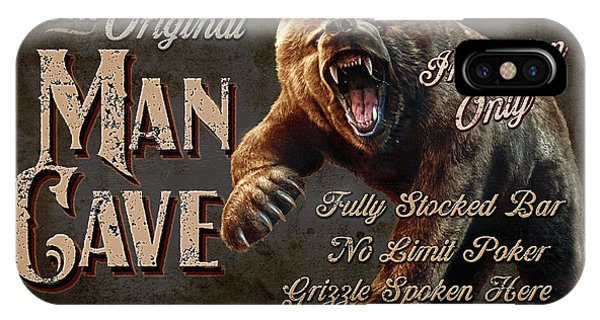 Man Cave Grizzly IPhone Case