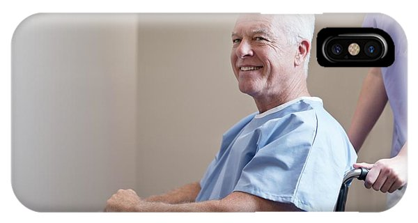 Man In Hospital Gown In Wheelchair Phone Case by Science Photo Library