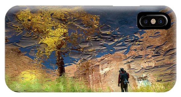 Modern iPhone Case - Man In Nature - Into The Canyon by Shenshen Dou