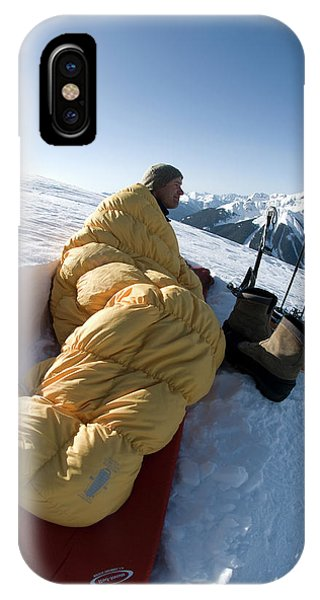 Anvil iPhone Case - Man In Sleeping Bag On Summit by Kennan Harvey