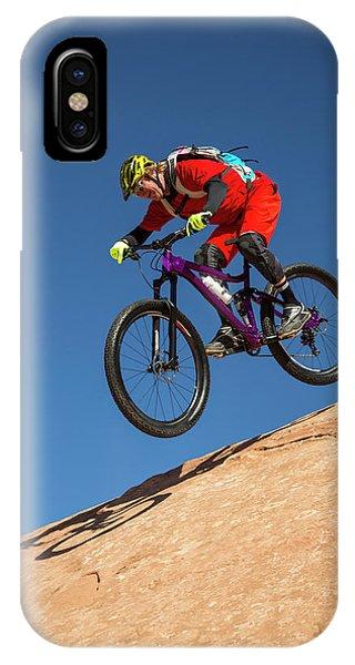 Man Jumping His Mountain Bike IPhone Case