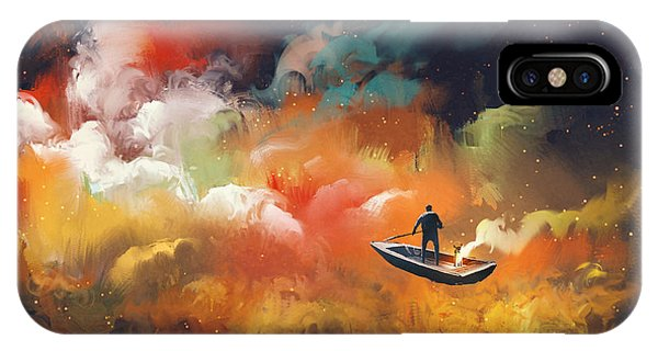 Dark Clouds iPhone Case - Man On A Boat In The Outer Space With by Tithi Luadthong