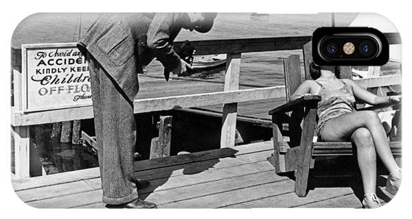 Sunbather iPhone Case - Man Photographs Sleeping Girl by Underwood Archives