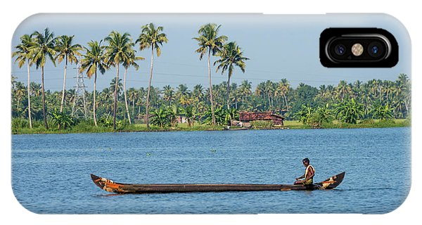 Kerala iPhone Case - Man Rowing A Long Wooden Canoe by Ali Kabas