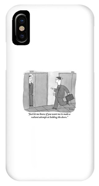 Man Running Towards Elevator As Another Man IPhone Case