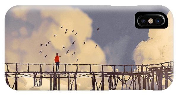 One iPhone Case - Man Standing On Old Bridge In by Tithi Luadthong