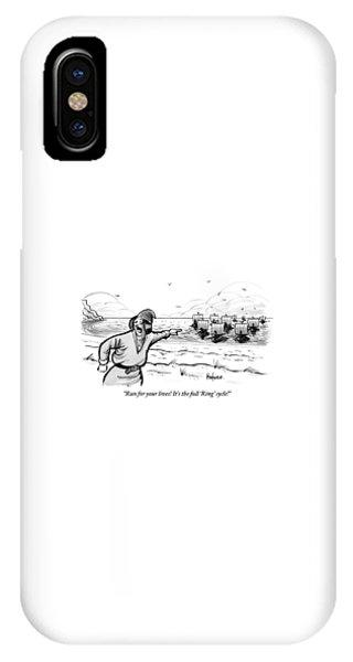 Man Standing On The Beach Screams As A Fleet IPhone Case