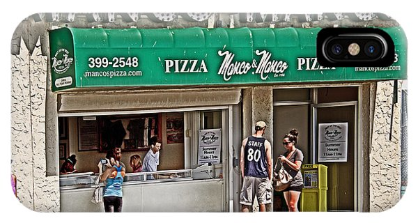 Street Sign iPhone Case - Manco And Manco Pizza by Tom Gari Gallery-Three-Photography