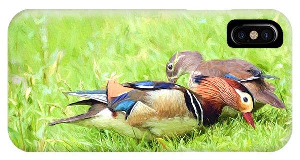 Mandarin Duck Couple IPhone Case