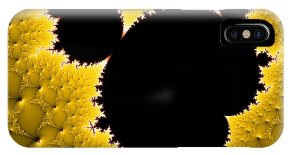 Mandelbrot Set Black And Yellow Fractal Art IPhone Case