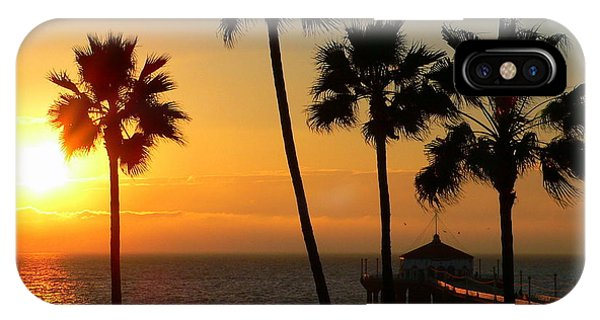 Manhattan Beach Pier And Palms At Sunset IPhone Case