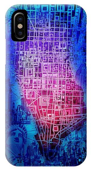 Manhattan Skyline iPhone Case - Manhattan Map Abstract 5 by Bekim M