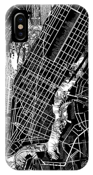 Manhattan Skyline iPhone Case - Manhattan Map Black And White by Bekim M