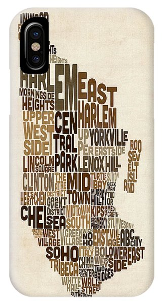 Manhattan New York Typography Text Map Phone Case by Michael Tompsett