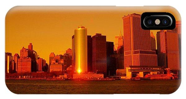 Manhattan Skyline At Sunset IPhone Case