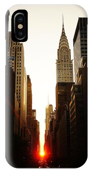 City iPhone Case - Manhattanhenge Sunset And The Chrysler Building  by Vivienne Gucwa