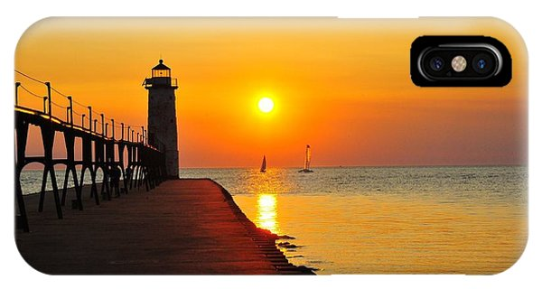 Manistee Lighthouse Sunset IPhone Case