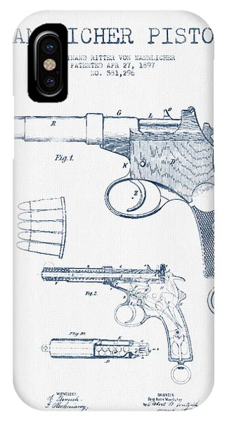 Weapons iPhone Case - Mannlicher Pistol Patent Drawing From 1897  -  Blue Ink by Aged Pixel