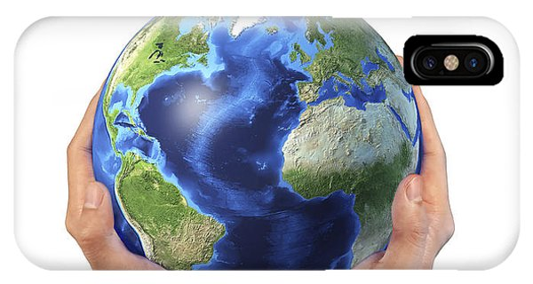 Achievement iPhone Case - Mans Hands Holding The Planet Earth by Leonello Calvetti