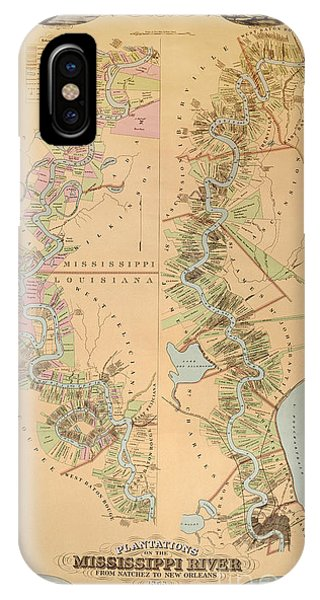 Map Depicting Plantations On The Mississippi River From Natchez To New Orleans IPhone Case
