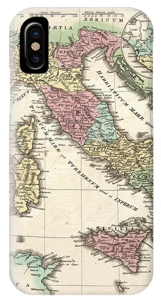 British Empire iPhone Case - Map Of Ancient Italy by Library Of Congress, Geography And Map Division