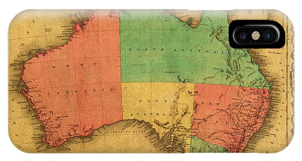 Canberra iPhone Case - Map Of Australia Vintage 1855 On Worn Canvas by Design Turnpike