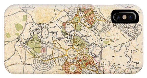 Canberra iPhone Case - Map Of Canberra 1927 by Andrew Fare