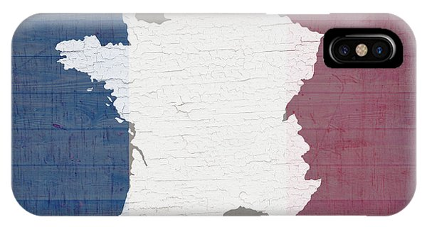 French iPhone Case - Map Of France In White Old Paint On French Flag Barn Wood  by Design Turnpike