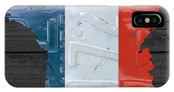 French iPhone Case - Map Of France Plus French Flag License Plate Art On Gray Wood Board by Design Turnpike