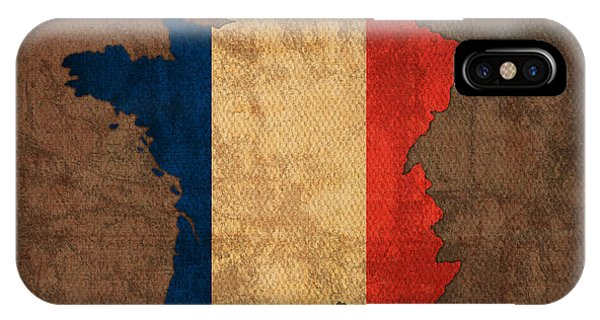 French iPhone Case - Map Of France With Flag Art On Distressed Worn Canvas by Design Turnpike