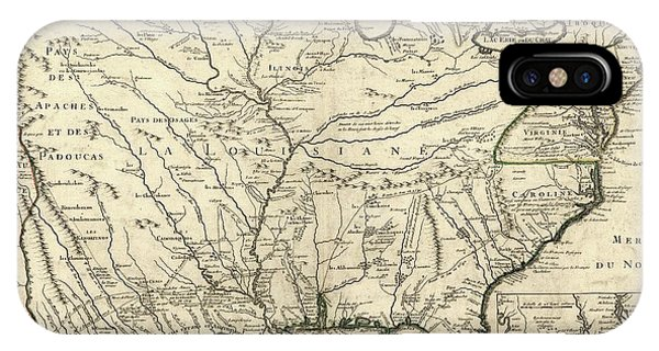 Mississippi River iPhone Case - Map Of French Louisiana by Library Of Congress, Geography And Map Division